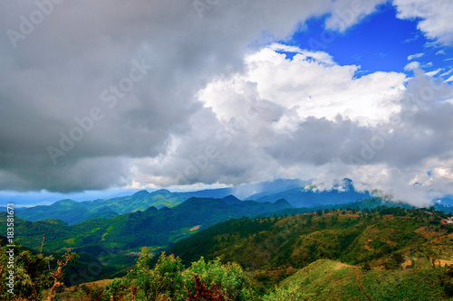 Deurstickers Donkergrijs high mountains peaks range clouds in fog scenery landscape national park view outdoor at Doi Ang Khang, Chiang Mai Province, Thailand