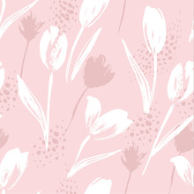 Abstract Floral Seamless Pattern Tulips .Trendy Hand Drawn Textures.