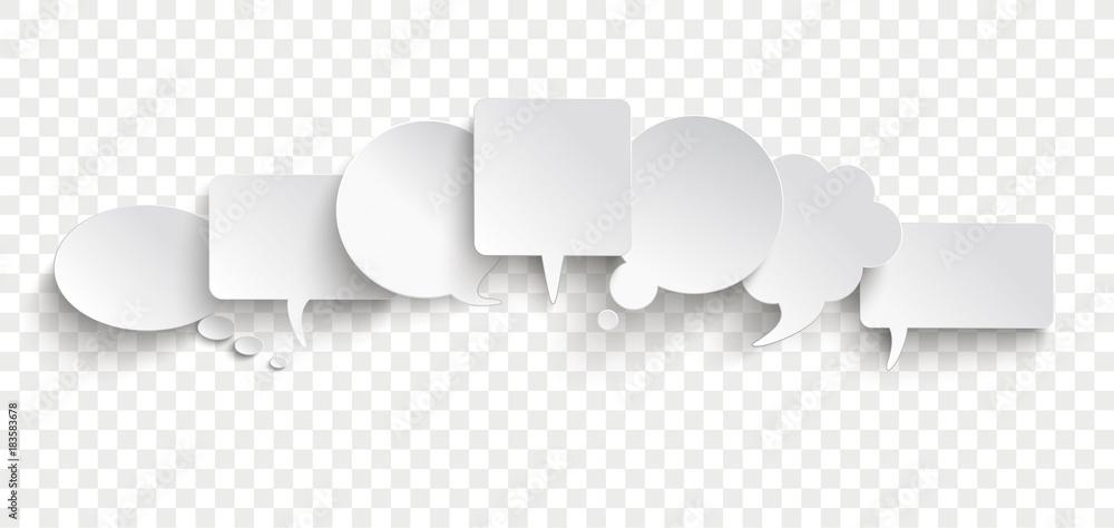 Fototapeta White Paper Speech Bubble Communication Bubbles Banner Transparent