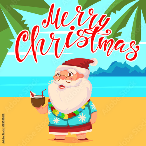 summer santa claus on the beach with palm trees in shorts and a hawaiian shirt with