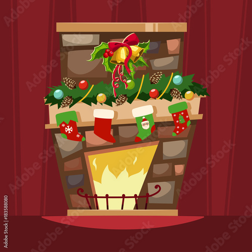 Christmas fireplace with a mantle, stockings for gifts and