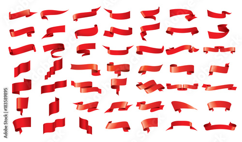 vector red ribbon - 183589895