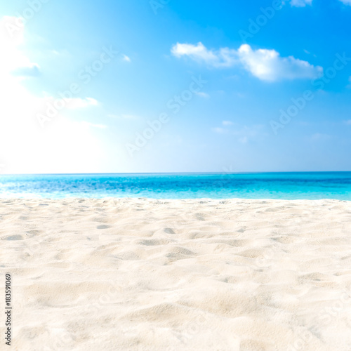 Aluminium Prints Beach Tranquil beach scene. Exotic tropical beach landscape for background or wallpaper. Design of summer vacation holiday concept.