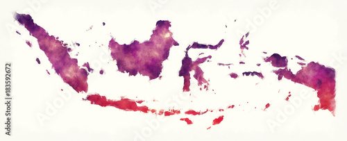 Photo Indonesia watercolor map in front of a white background