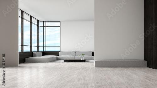 Modern Interieur Living : Modern interior living room wood floor sofa set sea view summer d