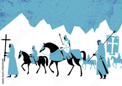 crusaders marching in desert land - vector illustration Wallpaper Mural