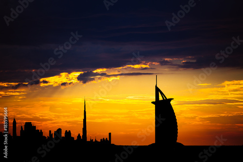 Dubai cityscape silhouette on sunset фототапет