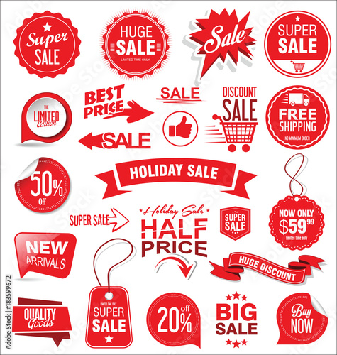 Fotografía  Super sale badges and labels vector collection