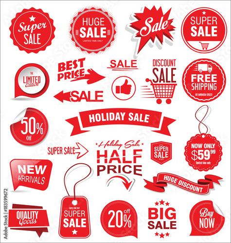 Cuadros en Lienzo Super sale badges and labels vector collection