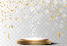 Golden Confetti Isolated On A Checkered Background.