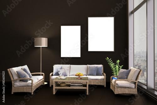 Sitzecke Mit Korkmöbel Im Wohnzimmer