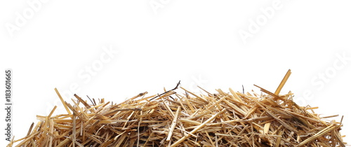 Spoed Foto op Canvas Natuur Straw pile isolated on white background, clipping path