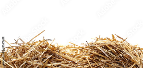 Fotografie, Obraz  Straw pile isolated on white background, clipping path
