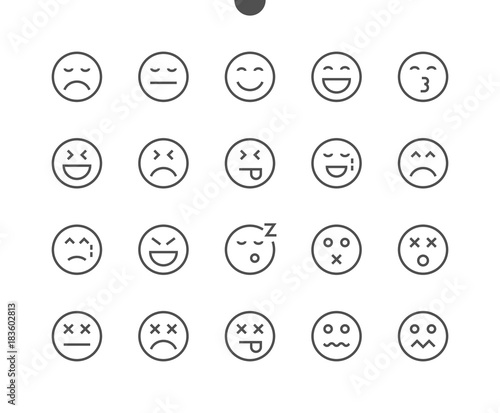 Obraz na plátne Emotions UI Pixel Perfect Well-crafted Vector Thin Line Icons 48x48 Ready for 24x24 Grid for Web Graphics and Apps with Editable Stroke