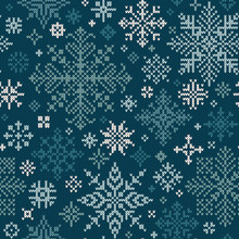 Seamless Knitted Pattern With White And Turquoise Snowflakes
