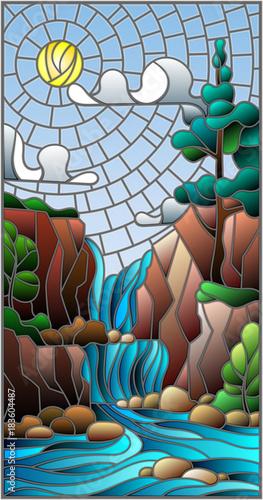 ilustracja-w-stylu-witrazu-krajobraz-drzewo-na-tle-wodospadu-gory-slonce-i