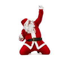 Happy Santa Claus Sliding On T...