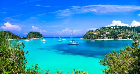 Beautiful turquoise bay in Lakka. Paxos. Ionian islands