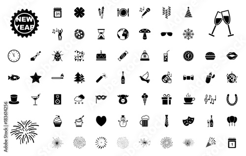 Großes Silvester-Iconset / Schwarz (Icons) Poster