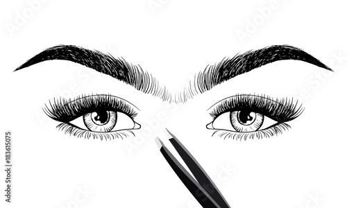 Photo Unibrow shaping eyebrows and beauty eyes with tweezers