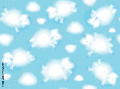 Vector  white clouds  sheeps shapes,  cute  seamless background. Canvas Print