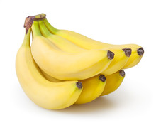 Bunch Of Bananas Isolated On White Background With Clipping Path