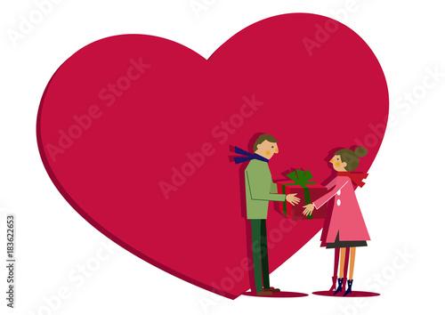 Fotografia  バレンタイン。愛。ハート。贈り物。プレゼント。