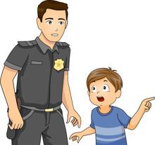 Man Kid Boy Police Report Illu...