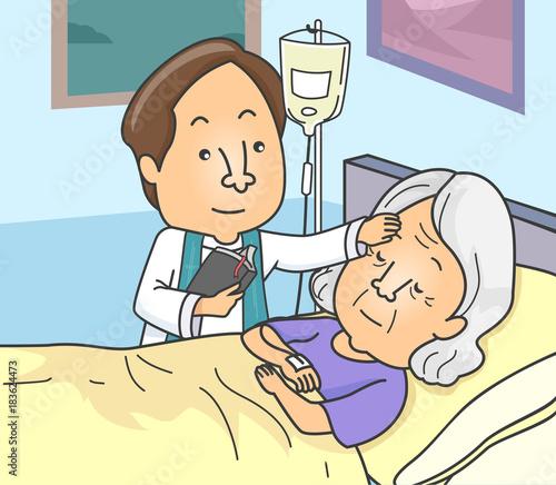 Photo Man Priest Anointing Sick Senior Illustration
