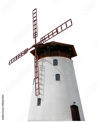 raditional old windmill building clean isolated