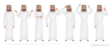 Arab Man Character Set Of Emot...