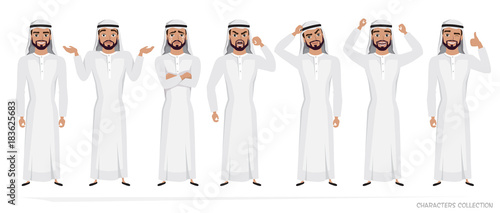 Fotografie, Tablou Arab Man character set of emotions