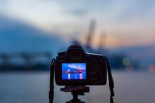 Digital Camera On Tripod Shooting Port