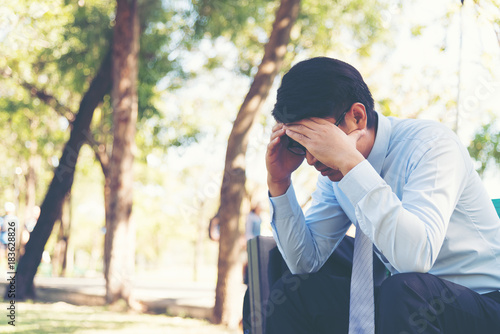 Fotografie, Obraz  Businessman feel sad worry tired frustrated upset fail after lost work job f