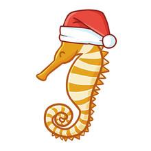 Cute And Funny Orange Seahorse...