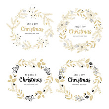 Set Of Christmas Wreaths With ...