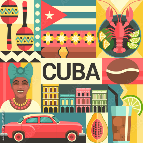 Photo  Cuba travel poster concept