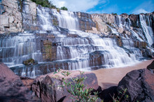 Pongour Waterfall. A Famous Waterfall In Vietnam.