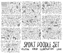 Big Set Of Sport Illustration Hand Drawn Doodle Sketch Line Vector Eps10