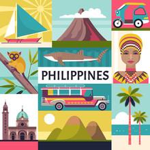 Philippines Travel Poster. Vec...