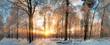 Leinwanddruck Bild - Winter Landschaft: Zauberhafter Sonnenuntergang im Wald
