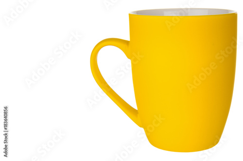Empty yellow mug isolated on white background