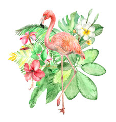 Obraz Tropical watercolor bouquet