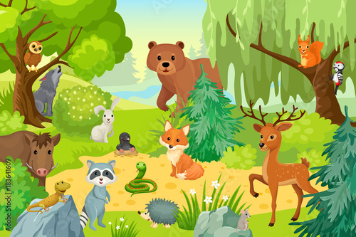 La pose en embrasure Forets enfants Group of wild animals on the fringe of the forest. Vector illustration in a cartoon style.