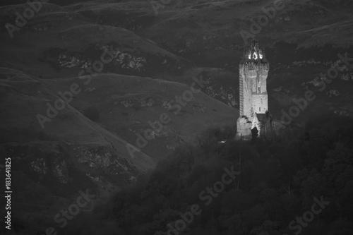 Fotografie, Obraz  William Wallace Monument Black & White