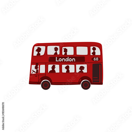 Fototapeta Red double-decker bus with passengers, London, England symbol, tourist attraction and public transport, cartoon vector illustration isolated on white background