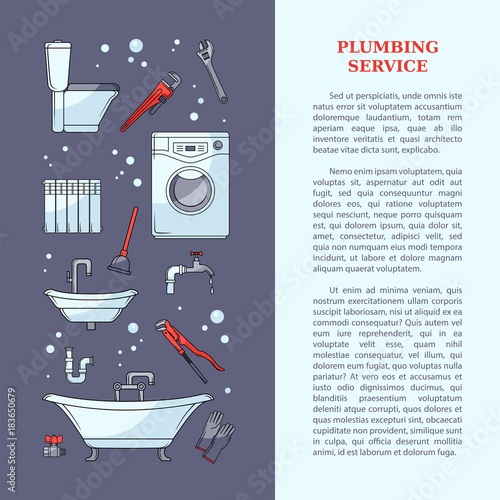 plumbing service poster leaflet web page design with bathtub
