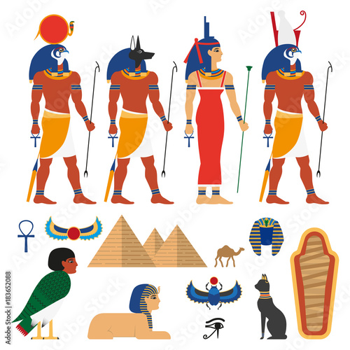 Vector Flat Egypt Gods And Sacred Symbols Set Anubis God With