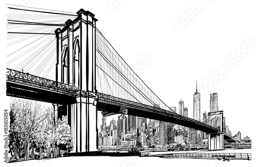 Autocollant pour porte Art Studio Brooklyn bridge in New York