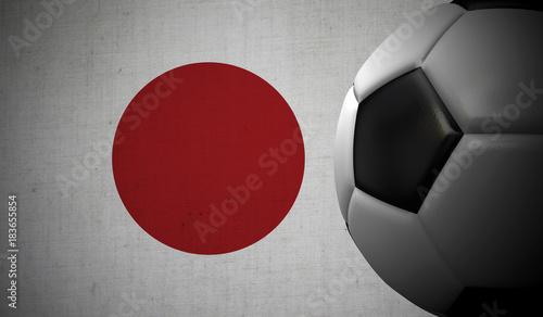 Soccer football against a Japan flag background. 3D Rendering #183655854